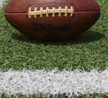 A football on turf