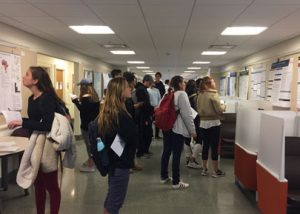 Students in hallway looking at research posters