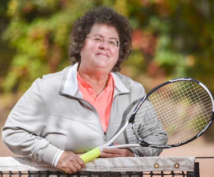 Abbe Seldin is posed with a tennis racket