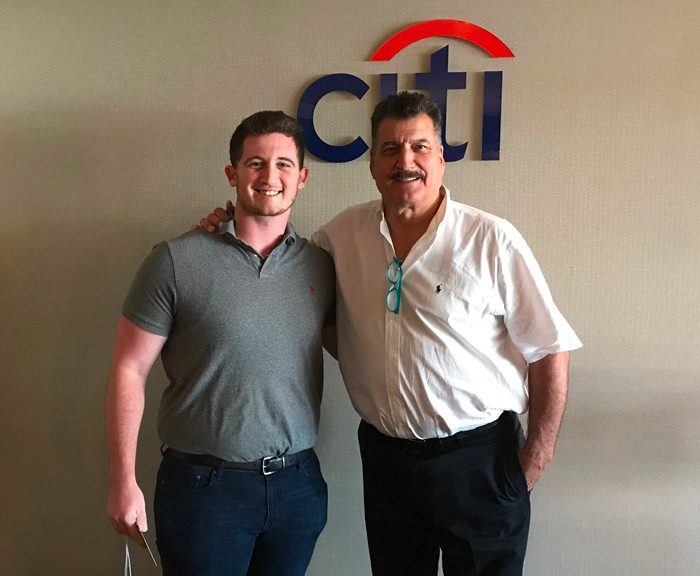 Alec Bieber and Keith Hernandez at a at Citi Field event