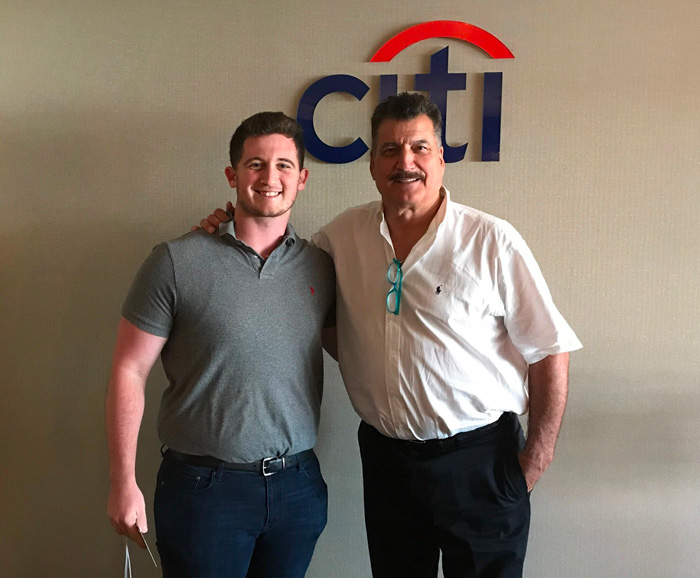 Alec Beiber and Keith Hernandez at a at Citi Field event