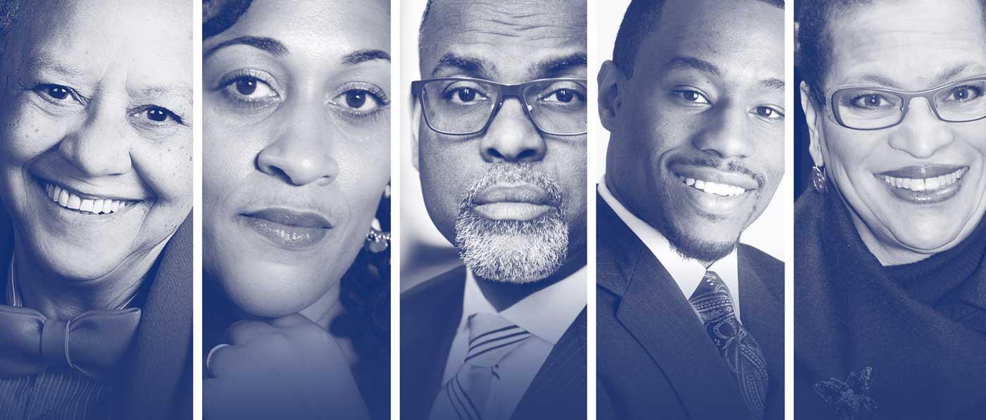 Portraits of six speakers