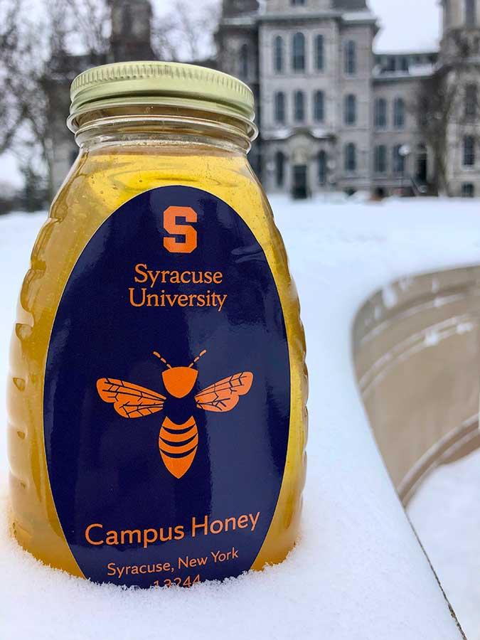A jar of Syracuse University honey