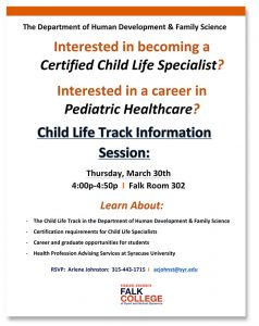 Child Life Specialist Career/Certification Information Session @ Falk College Room 302 | Syracuse | New York | United States