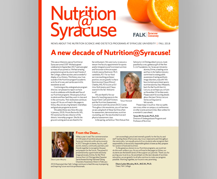 Cover of the Nutrition@Syracuse Fall 2018 Newsletter