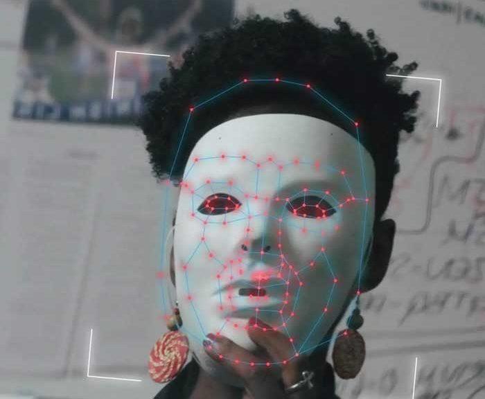 A women wears a mask