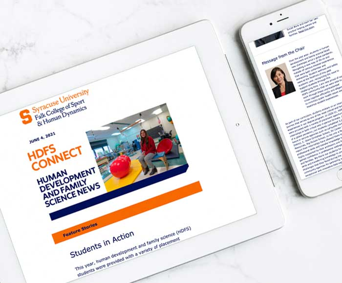 Digital newsletter showing on devices