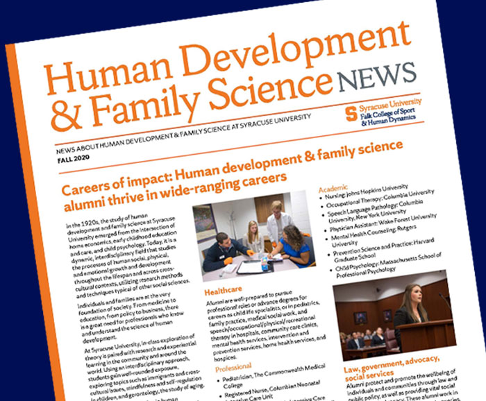 Cover page of the HDFS Fall 2020 Newsletter.