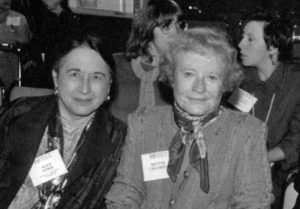 Alice Honig is posed with Bettye Caldwell