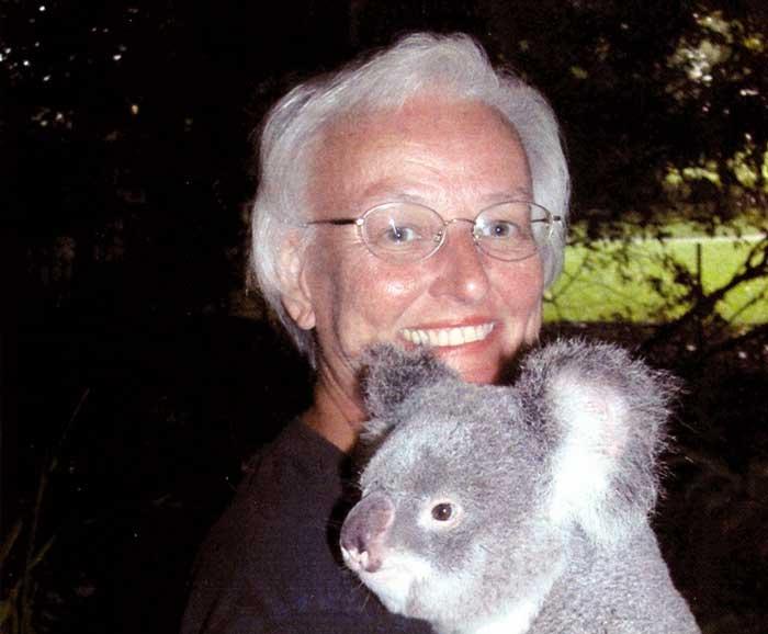 Jean Bowering holds a koala