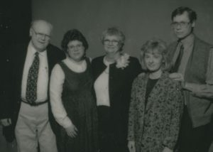 Lape and her family at her retirement party.