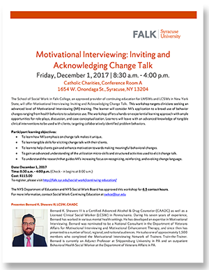 Motivational Interviewing: Inviting and Acknowledging Change Talk @ Conference Room A, Catholic Charities | Syracuse | New York | United States