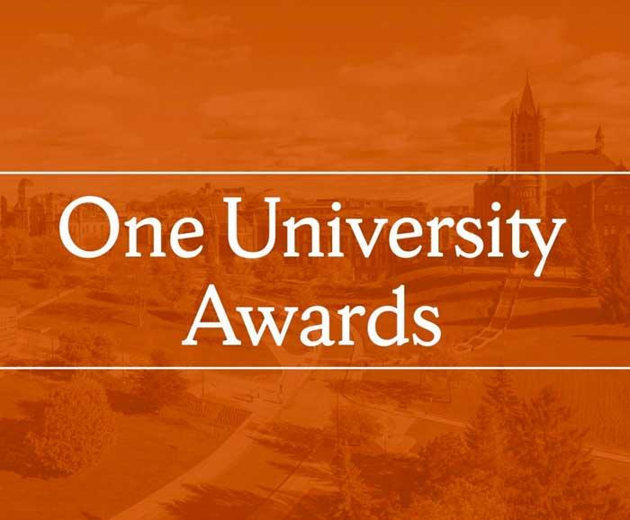 The words One University Awards on an orange background