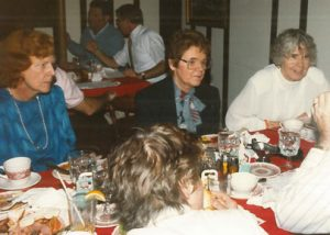 """Nursing faculty Dr. Carol Brooks '55, Osborne, and the late Dorothy """"Dottie"""" Mae Lott Goodwin G'61 at a celebration for Harris on receiving her Ph.D."""