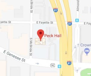 Map of Peck Hall in Syracuse, NY