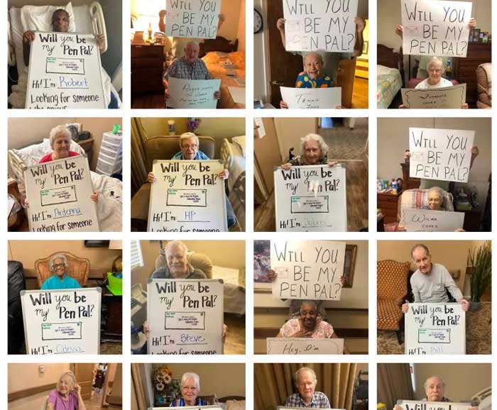 A snapshot of elderly people holding signs asking for pen pals