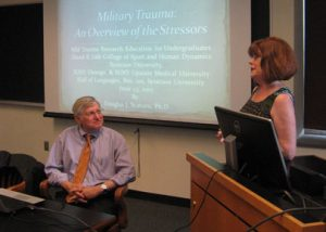 Dr. Scaturo and Professor Wolford at a seminar on Military Trauma