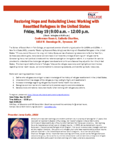 Restoring Hope and Rebuilding Lives: Working with Resettled Refugees in the United States @ Conference Room A, Catholic Charities, | Syracuse | New York | United States
