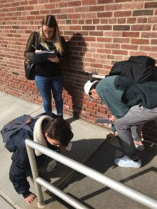 Students examine a ramp