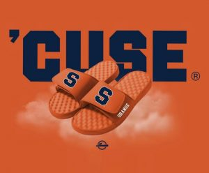 SU branded orange footwear