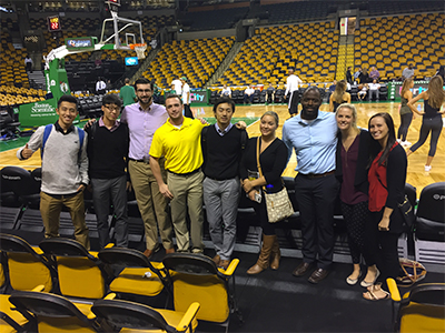Students visit Celtics executives at TD Garden in Boston.