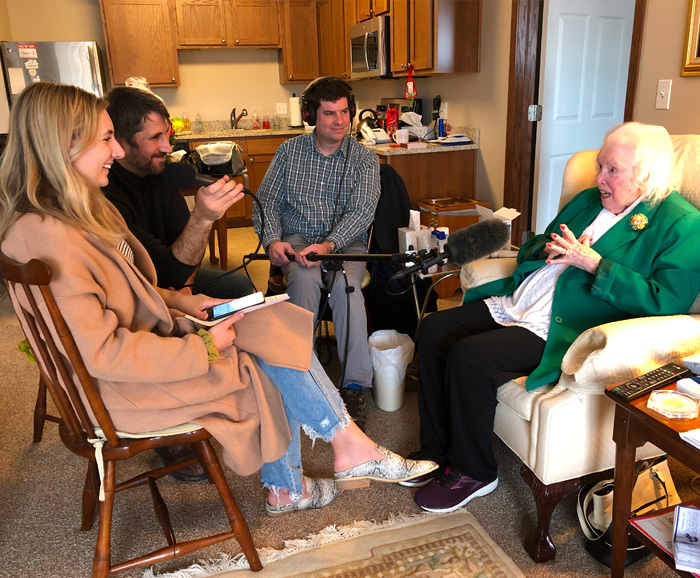 Sally Short sits in her home being interviewed for the documentary