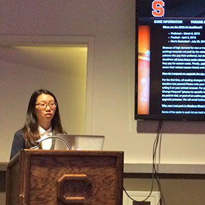 Student presents to Carrier Dome management.