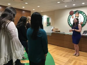 WISE members in Boston Celtics office